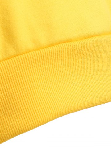 Affordable Long Sleeve Casual Sports Cropped Sweatshirt - L YELLOW Mobile