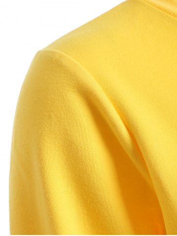 Chic Long Sleeve Casual Sports Cropped Sweatshirt - L YELLOW Mobile