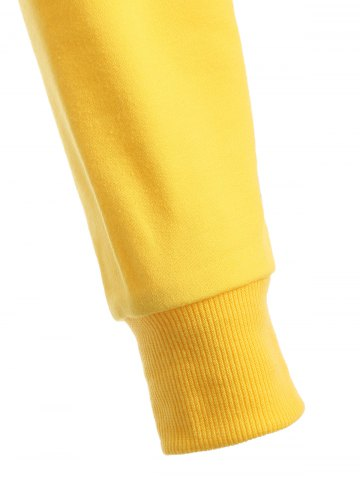 Best Long Sleeve Casual Sports Cropped Sweatshirt - XS YELLOW Mobile