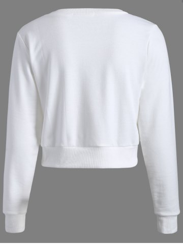 Discount Long Sleeve Casual Sports Cropped Sweatshirt - M WHITE Mobile