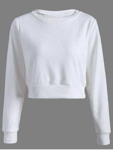 Affordable Long Sleeve Casual Sports Cropped Sweatshirt WHITE XS