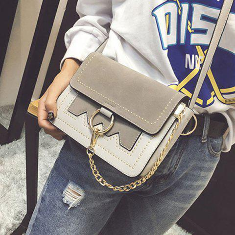 Unique Chain Metal Ring Covered Closure Crossbody Bag GREY AND WHITE