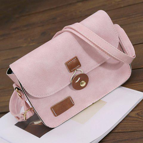 Fancy Square Shape PU Leather Stitching Crossbody Bag - PINK  Mobile