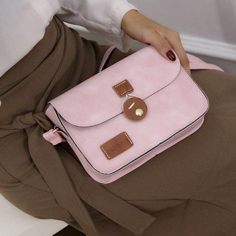 Trendy Square Shape PU Leather Stitching Crossbody Bag - PINK  Mobile