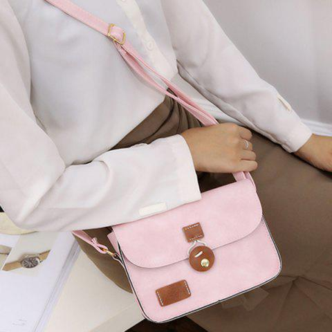 Buy Square Shape PU Leather Stitching Crossbody Bag - PINK  Mobile