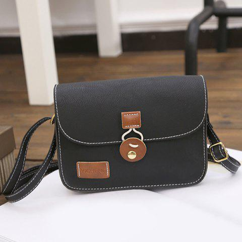 Trendy Square Shape PU Leather Stitching Crossbody Bag - BLACK  Mobile