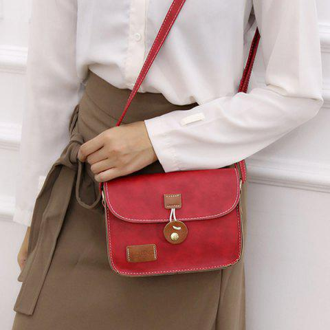 Hot Square Shape PU Leather Stitching Crossbody Bag - RED  Mobile