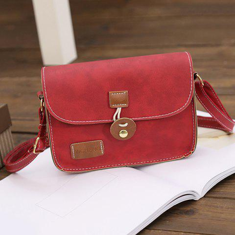 Buy Square Shape PU Leather Stitching Crossbody Bag - RED  Mobile
