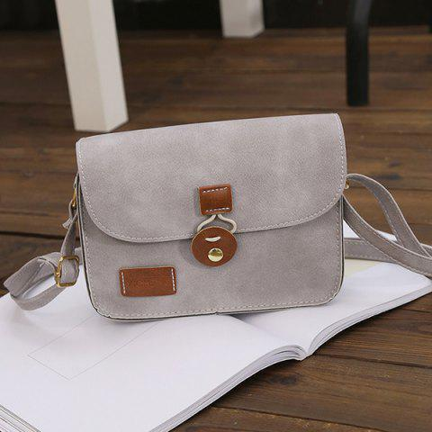 Hot Square Shape PU Leather Stitching Crossbody Bag - LIGHT GRAY  Mobile