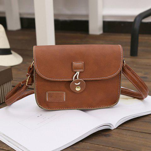 Best Square Shape PU Leather Stitching Crossbody Bag - BROWN  Mobile