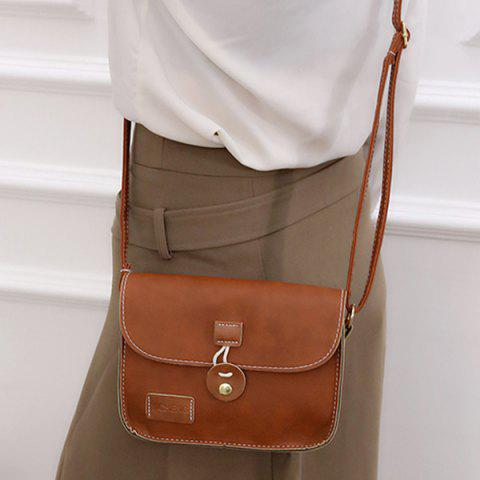 Affordable Square Shape PU Leather Stitching Crossbody Bag - BROWN  Mobile