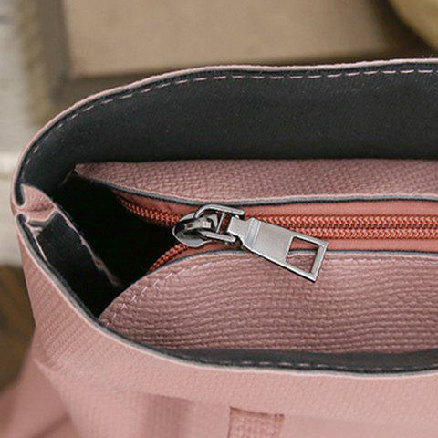 Outfits Textured Leather Stitching Scarves Shoulder Bag - PINK  Mobile