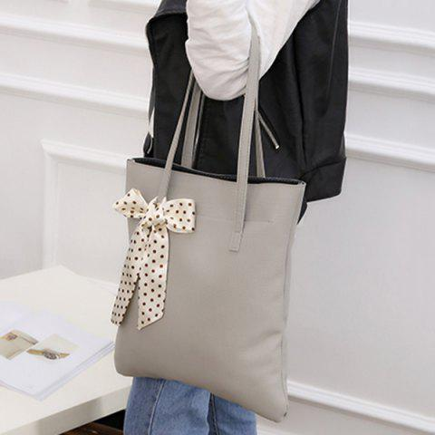 Latest Textured Leather Stitching Scarves Shoulder Bag - GRAY  Mobile