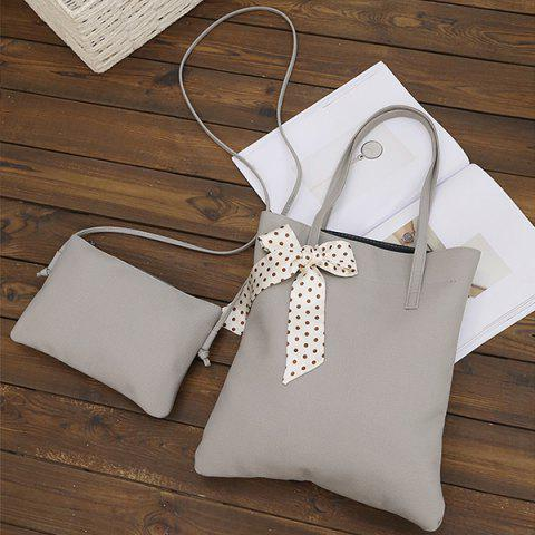 Outfits Textured Leather Stitching Scarves Shoulder Bag - GRAY  Mobile