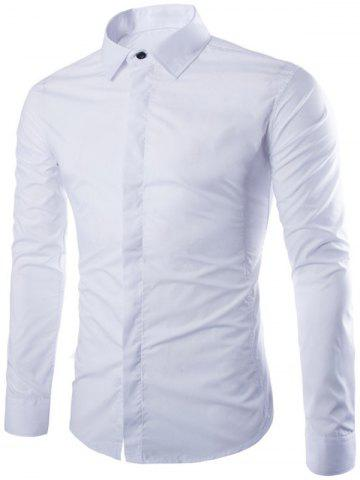 Sale Shirt Collar Long Sleeve Fly Front Shirt WHITE 3XL