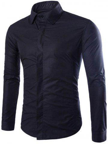 Chic Shirt Collar Long Sleeve Fly Front Shirt