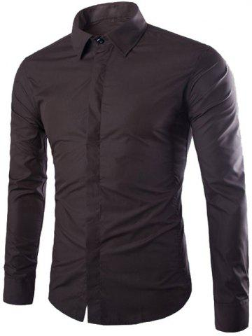 Affordable Shirt Collar Long Sleeve Fly Front Shirt