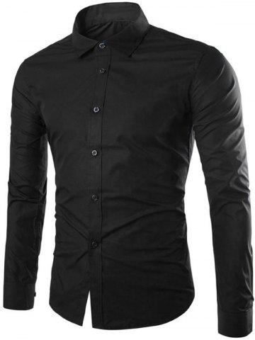 Single Breasted Shirt Collar Long Sleeve Shirt - Black - Xl