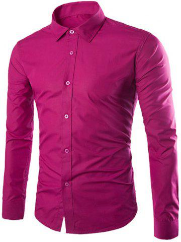 Discount Single Breasted Shirt Collar Long Sleeve Shirt