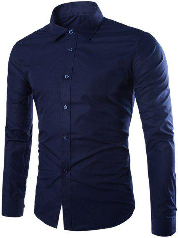Buy Single Breasted Shirt Collar Long Sleeve Shirt