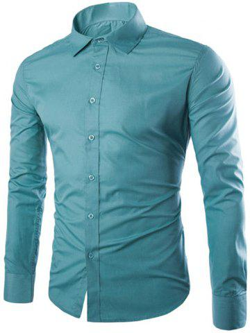 Affordable Single Breasted Shirt Collar Long Sleeve Shirt