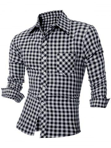 Casual Long Sleeve Turn-Down Collar Plaid Shirt - Black - M