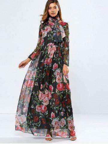 Latest Vintage Chiffon Long Sleeve Floral Print Floor Length Maxi Prom Dress BLACK L