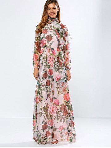Store Vintage Chiffon Long Sleeve Floral Print Floor Length Maxi Prom Dress PINK L