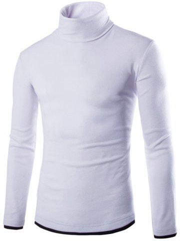Hot Faux Twinset Design High Neck Long Sleeve Knitwear WHITE 2XL