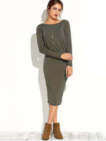 Hot Slash Neck Long Sleeve Pencil Dress ARMY GREEN XL