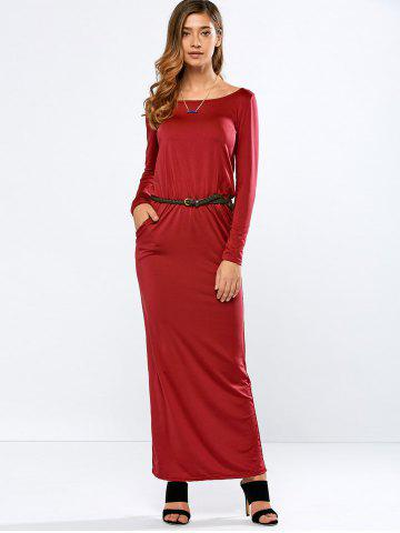 Buy Long Sleeve Belted Maxi Dress with Pockets