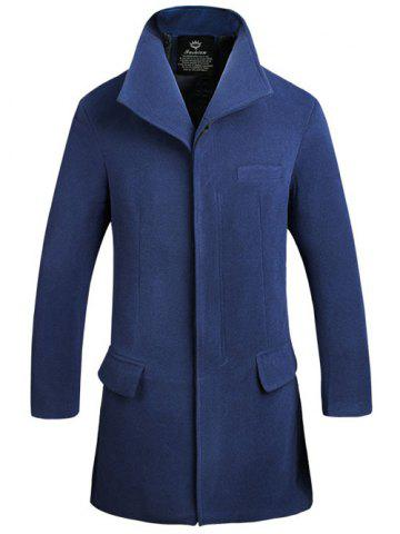Outfit Stand Collar Covered Button Lengthen Woolen Coat CADETBLUE 5XL
