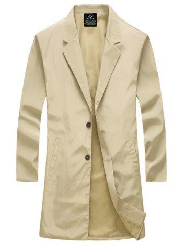 Chic Turn-Down Collar Single-Breasted Lengthen Wind Coat KHAKI L