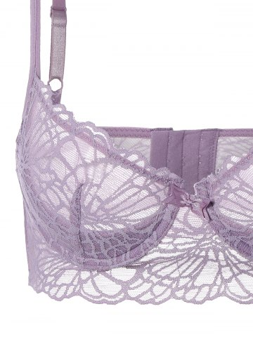 Outfit See-Through Push Up Bra Set with Lace - 70B LIGHT PURPLE Mobile