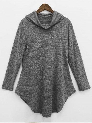 Cheap Cowl Neck Asymmetrical Dress GRAY XL
