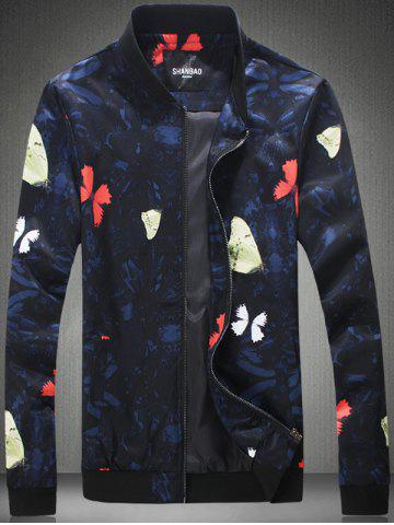 Buy Plus Size 3D Butterfly Print Zip-Up Jacket