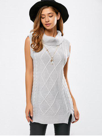 Fashion Turtle Neck Sleeveless Cable Knit Sweater