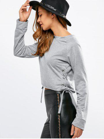 Fashion Crew Neck Side Lace Up T-Shirt