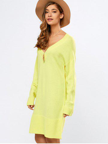 New V Neck Long Sleeve Tunic Sweater Dress YELLOW M