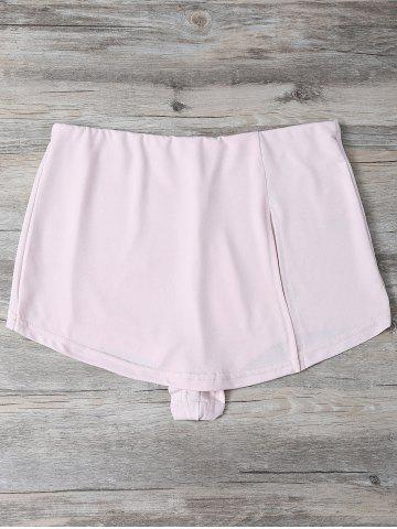 High Waist Slit Culotte Skinny Shorts - Shallow Pink - M
