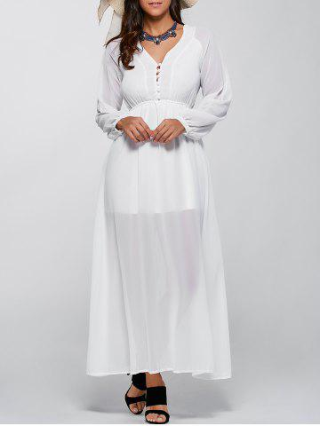 Long Sleeve V Neck Chiffon Casual Maxi Dress - White - M