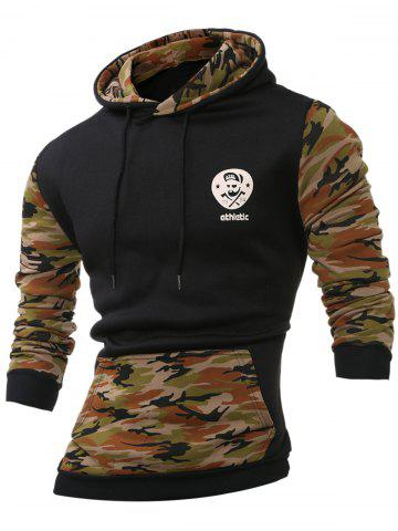 Outfit Camouflage Splicing Long Sleeves Hoodie ARMY GREEN 2XL