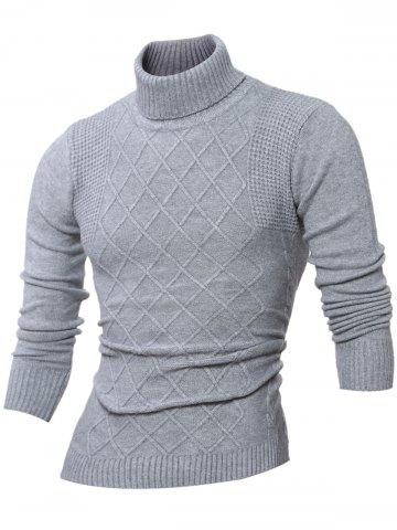 New Rhombus Jacquard Turtle Neck Long Sleeves Sweater GRAY XL
