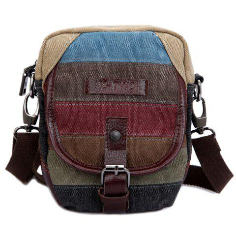 Latest Buckle Striped Pattern Canvas Crossbody Bag BROWN