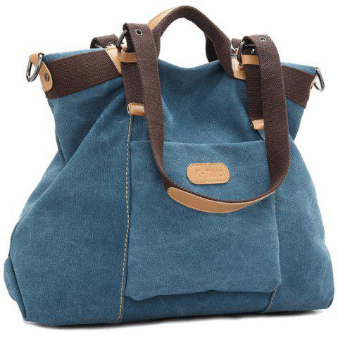 Chic Canvas Buckles Colour Spliced Shoulder Bag BLUE