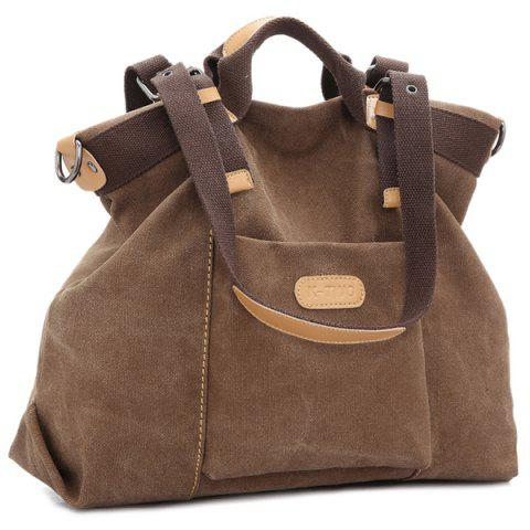 Shop Canvas Buckles Colour Spliced Shoulder Bag BROWN