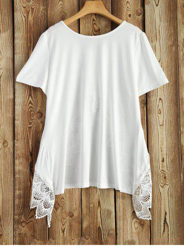 Shops Lace Trim Short Sleeve Tee