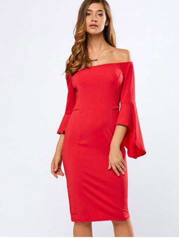 Off The Shoulder Bell Sleeves Bodycon Dress - RED XL