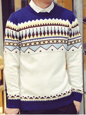 Rib Hem Pattern Crew Neck Sweater