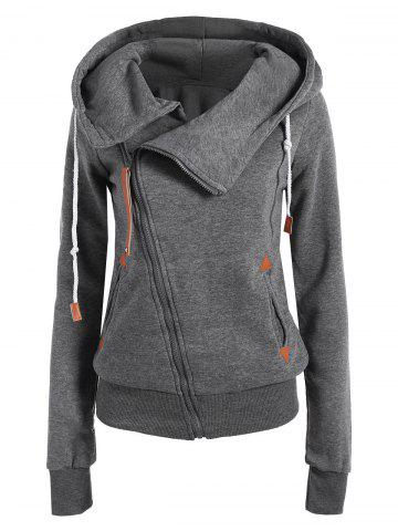 Casual Style Solid Color Long Sleeves Hoodie For Women - Deep Gray - M